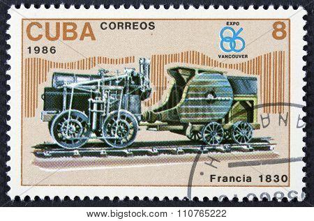Vintage locomotive on a stamp