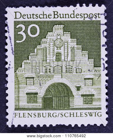 vintage building on a postage stamp