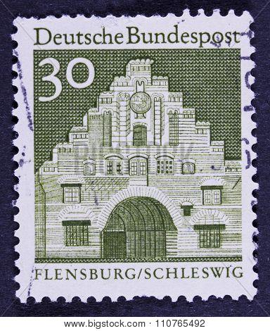 vintage building on a postage stamp