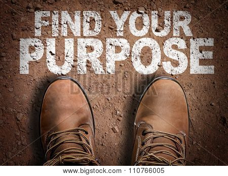 Top View of Boot on the trail with the text: Find Your Purpose