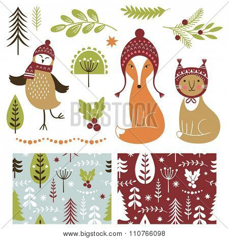 Set of Christmas illustrations and graphic elements