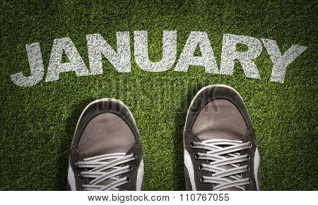 Top View of Sneakers on the grass with the text: January