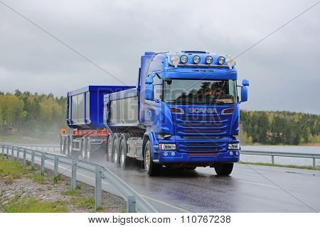 Blue Scania Combination Vehicle For Limestone Haul