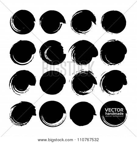 Big Set Of Vector Circle Brush Strokes Texture Filled Black Ink On A White Background