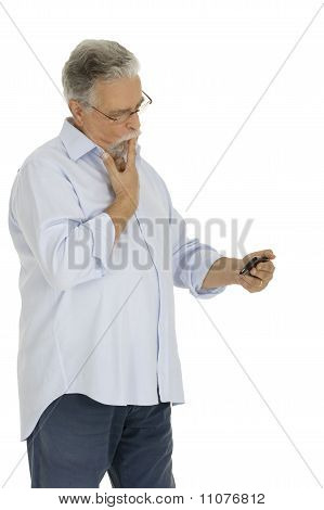 old man with mobile