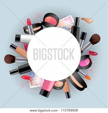 Cosmetics. Round decorative frame with make up stuff. lipstick, mascara, eye shadow, face powder.