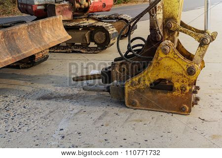 Jackhammer And Drilling Machine On Construction Site