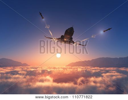 Military aircraft fires in the sky.