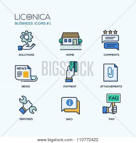 Set of modern office thin line flat design icons and pictograms. Business infographics objects, web