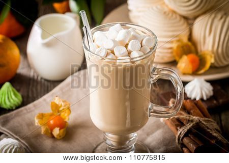 Hot Latte With Marshmallows