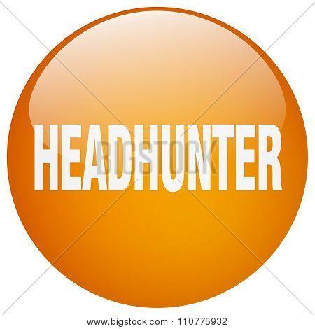 Headhunter Orange Round Gel Isolated Push Button
