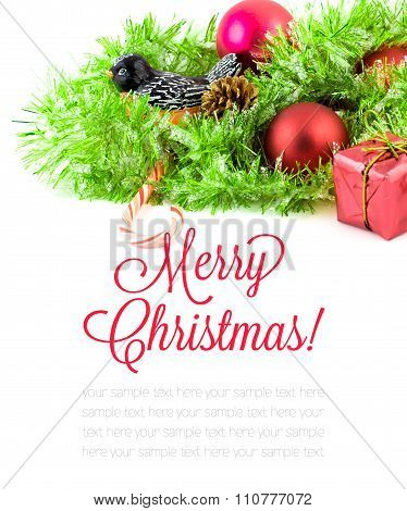Red Xmas Ornaments And Xmas Tree On White Background. Merry Christmas Card. Winter Holidays. Theme H