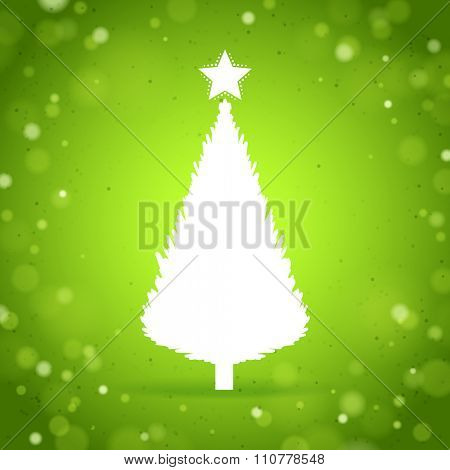 White Christmas Tree on the green brilliant background