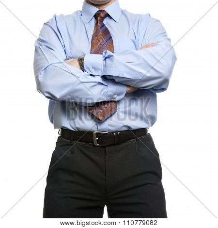 Businessman In Blue Shirt Stands With Crossed Folded Hands
