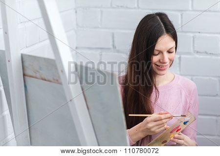 Beautiful Woman Draws