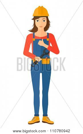 A female repairer engineer with a spanner in hand showing thumb up sign vector flat design illustration isolated on white background. Vertical layout.