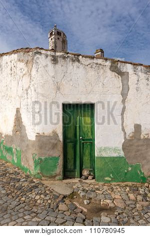 door detail of an old abandoned house in Portugal, Alentejo region