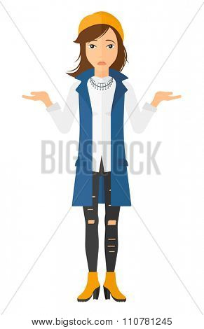 Worried woman with spread hands vector flat design illustration isolated on white background. Vertical layout.