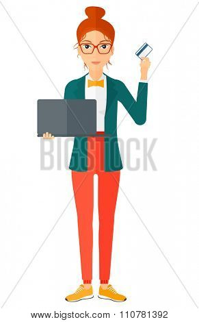 A happy young woman holding a laptop and a credit card in hands making purchases online vector flat design illustration isolated on white background. Vertical layout.