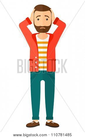 A disappointed young hipster man with the beard standing and clutching his head vector flat design illustration isolated on white background. Vertical layout.