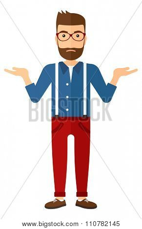 A young hipster man with the beard gesturing with open arms vector flat design illustration isolated on white background. Vertical layout.
