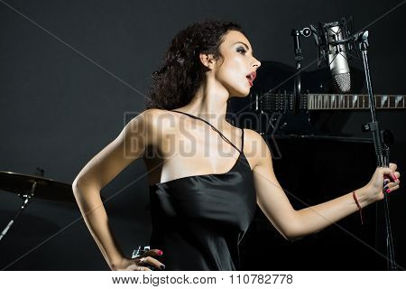 Singing Woman In Studio