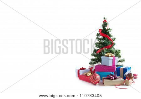 Christmas Tree And Gifts With Copy Space