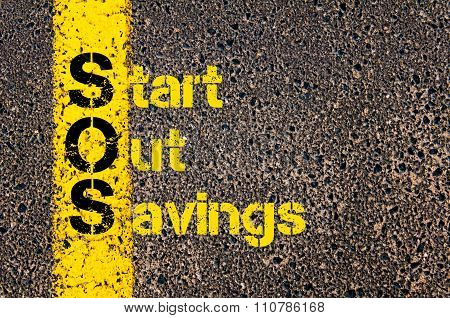 Accounting Business Acronym Sos Start Out Savings