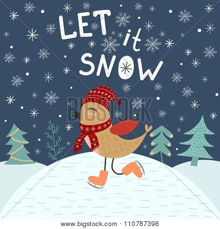 Let It Snow, Card Template With A Cute Bird
