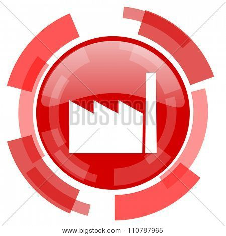 factory red glossy web icon