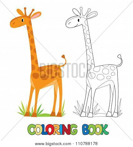 Coloring book of funny african giraffe