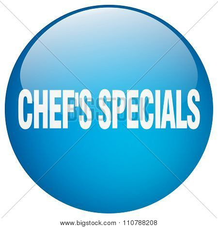 Chef's Specials Blue Round Gel Isolated Push Button