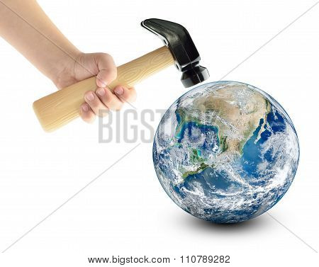 Globe Smash With A Hammer, Isolated On A White Background. Elements Of This Image Furnished By Nasa