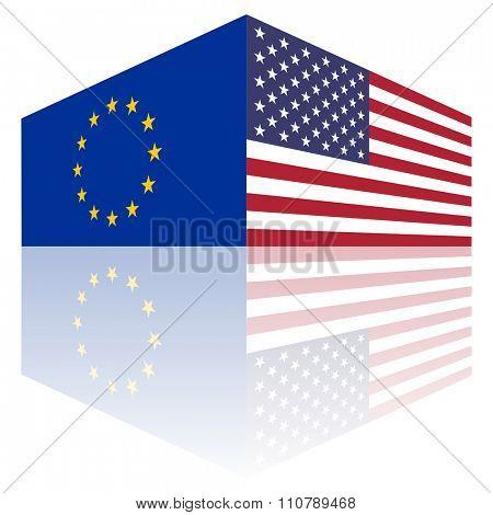 free trade ue and usa flags