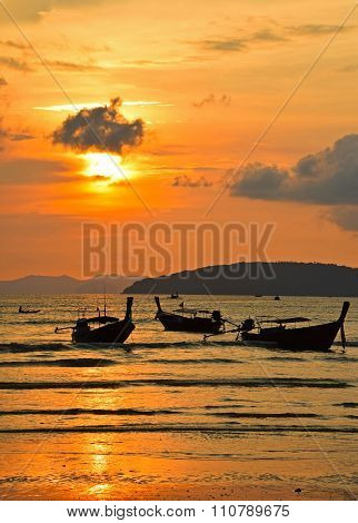 Traditional Thailand Long Tail Boats At Sunset
