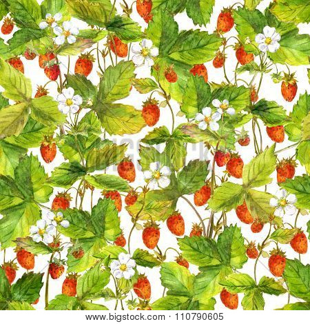 Seamless tiled fruit pattern with garden of small wild forest strawberry berries. Aquarelle painted