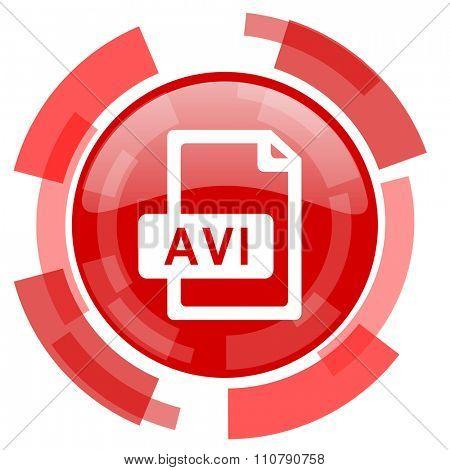 avi file red glossy web icon