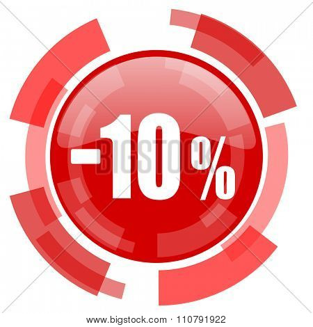 10 percent sale retail red glossy web icon