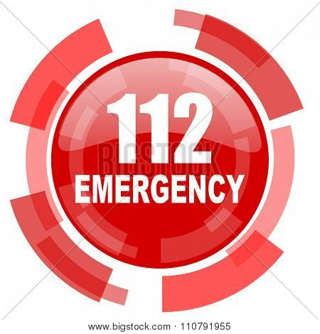 number emergency 112 red glossy web icon