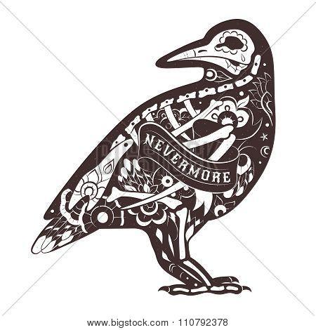 Vector Floral Crow