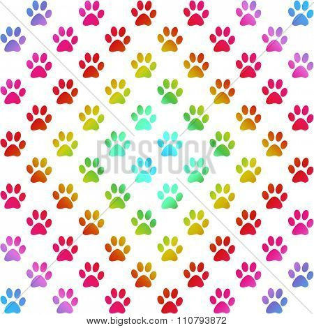 Paw prints in gradient colors in a diamond shape, on white background