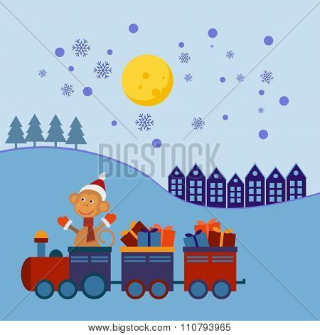 Christmas Train With Gifts