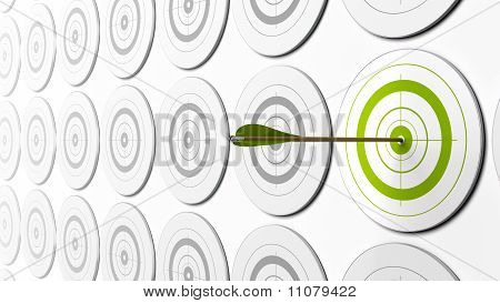 green targets and arrow