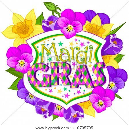 Illustration of Mardi Gras blazon on flower background
