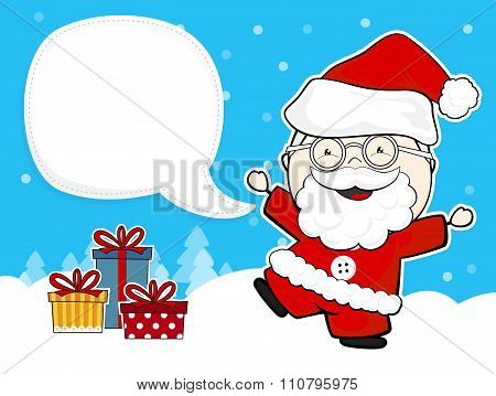 cute santa claus with gift boxes