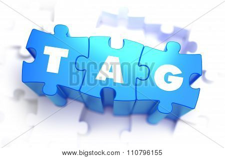 Tag - White Word on Blue Puzzles.