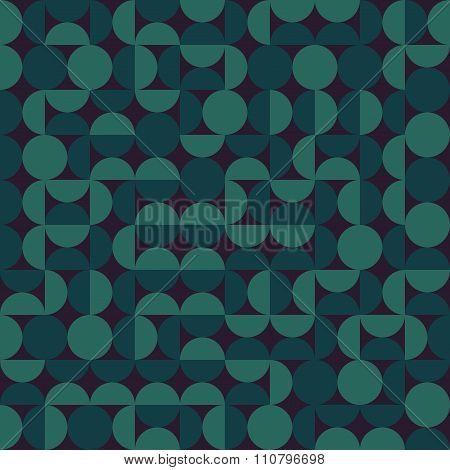 Vector Seamless Dark Green Geometric Semi Circle  Irregular Blocks Retro Pattern
