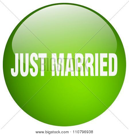 Just Married Green Round Gel Isolated Push Button