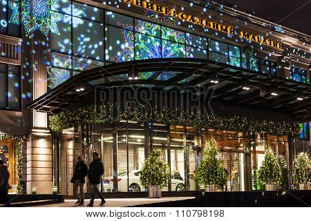 Central Entrance In Tsum Store In Moscow At Night
