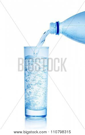 mineral water in glass isolated on white